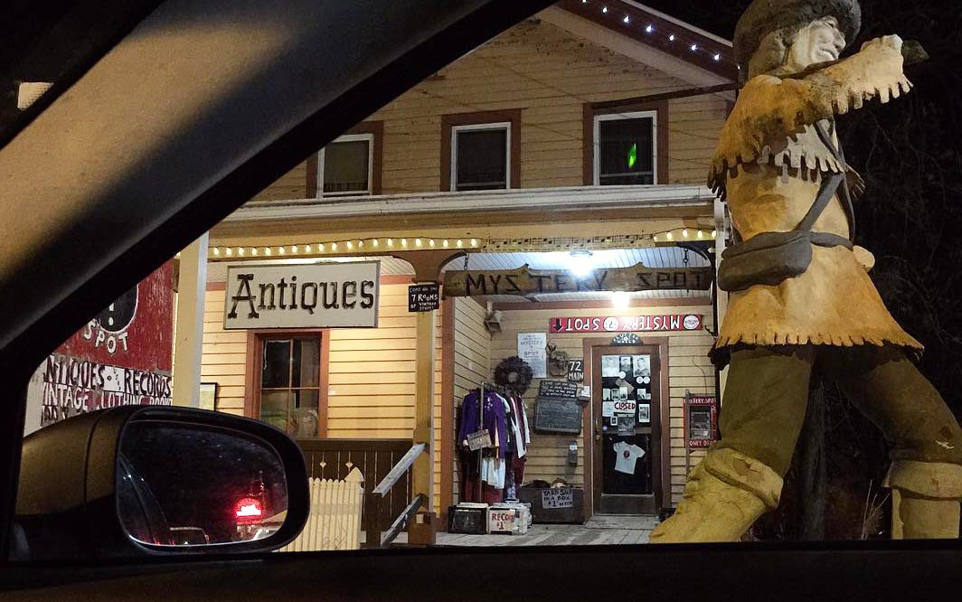 The Mystery Spot at night from inside the car. Davy Crockett on the right; Brio's neon light in the side mirror. Main Street, Phoenicia, NY