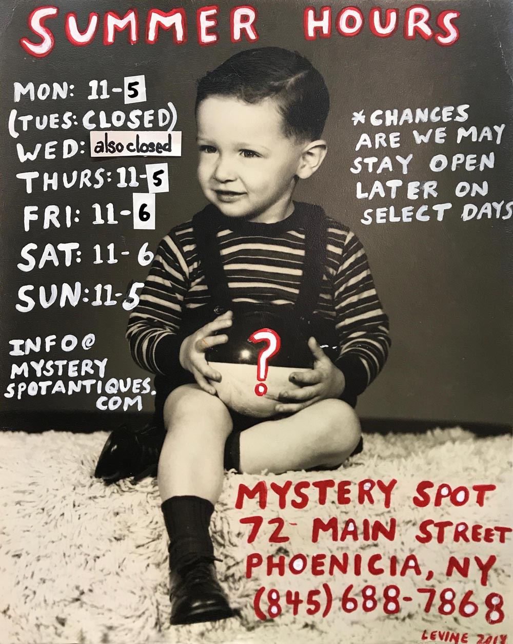 Summer hours mystery spot sign 2019 blog